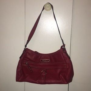 Red Leather Rosetti Shoulder Purse